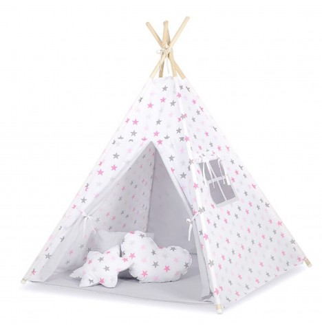 Supreme Baby Large Handmade Kids Teepee / Play Tent & Mat - Grey / Pink Stars