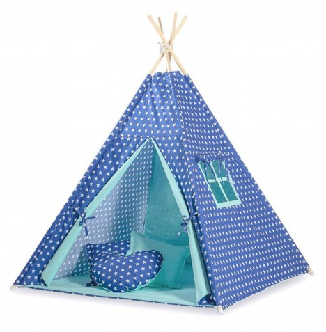 Supreme Baby Large Handmade Kids Teepee / Play Tent & Mat - Navy / Blue Stars