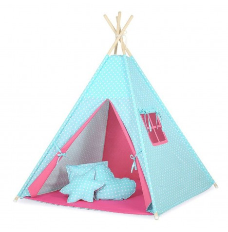 Supreme Baby Large Handmade Kids Teepee / Play Tent, Mat & Pillows - Blue / Pink & White