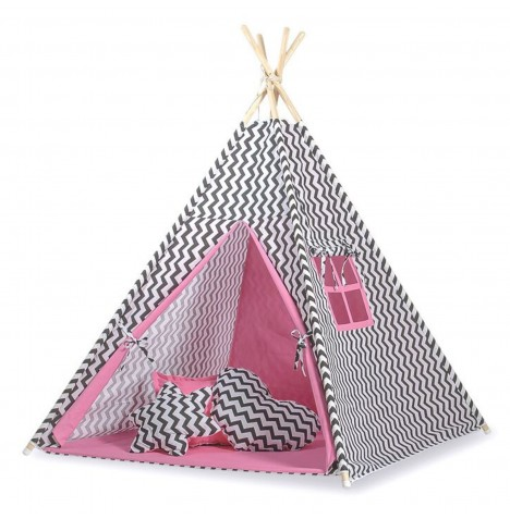 Supreme Baby Large Handmade Kids Teepee / Play Tent, Mat & Pillows - Chevron Black / Pink