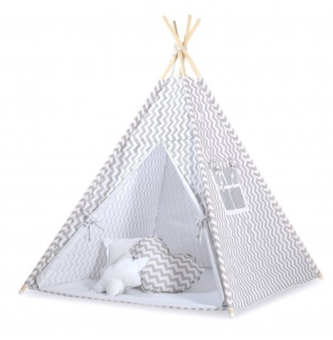 Supreme Baby Large Handmade Kids Teepee / Play Tent, Mat & Pillows - Chevron Grey