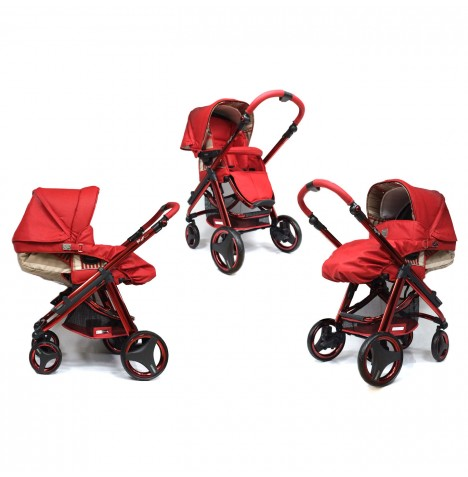 Bebecar Limited Edition Ip-Op Evolution 2 In 1 Deluxe Pushchair / Pram - Ruby Red
