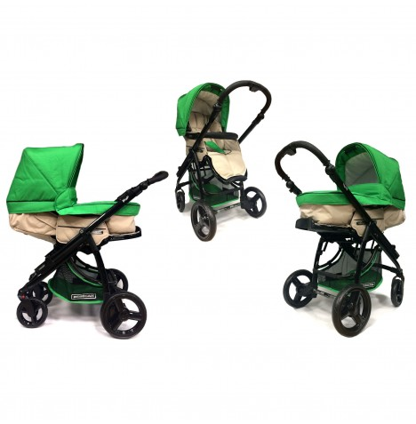 Bebecar Ip-Op 2 In 1 Deluxe Pushchair / Pram - Neptune Green
