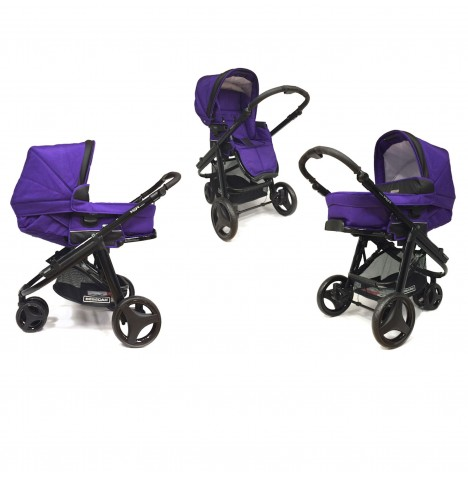 Bebecar Icon Evolution 3 Wheeler Pushchair / Pram - Black / Purple