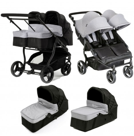 My Child Easy Twin Double Stroller & x2 Carrycot - Grey