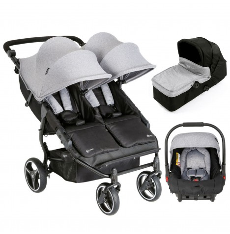 My Child Easy Twin Double Stroller Travel System & Carrycot - Grey