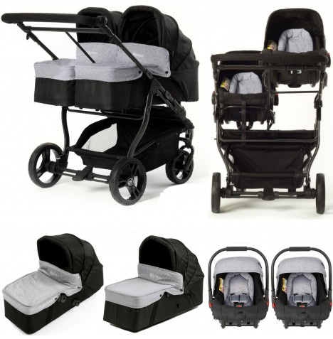 My Child Easy Twin Double Stroller Travel System & Carrycot (2 Car Seats, 2 Carrycots) - Grey