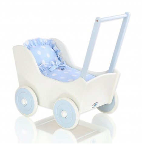 My Sweet Baby Wooden Mila Dolls Pram - Blue with Dots