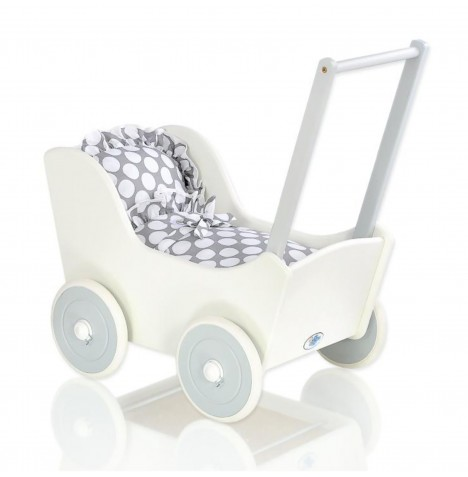 My Sweet Baby Wooden Mila Dolls Pram - Grey with Dots