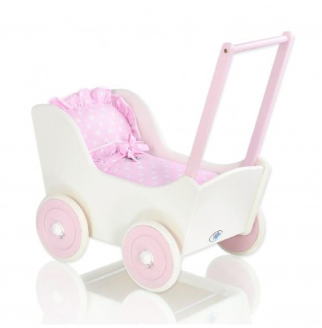 My Sweet Baby Wooden Mila Dolls Pram - Pink with Dots