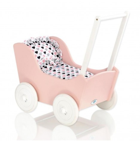 My Sweet Baby Wooden Mila Dolls Pram - Powder Pink with Hearts
