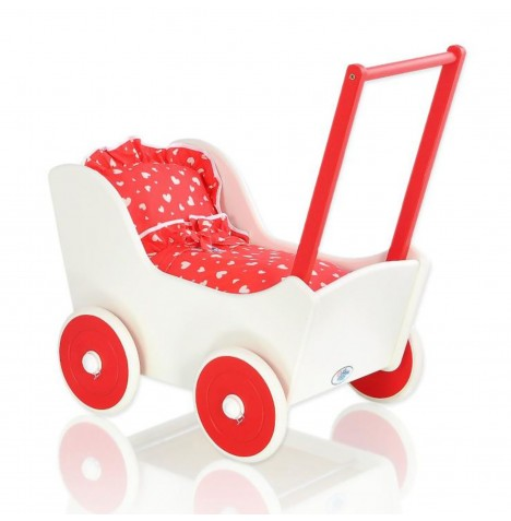 My Sweet Baby Wooden Mila Dolls Pram - Red with Hearts