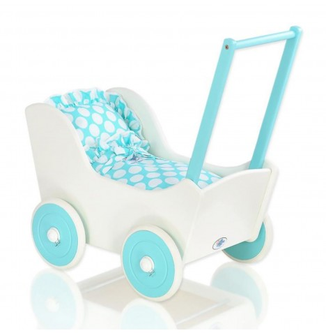 My Sweet Baby Wooden Mila Dolls Pram - Turquoise with Dots
