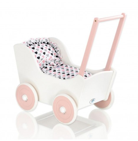 My Sweet Baby Wooden Mila Dolls Pram - White with Hearts