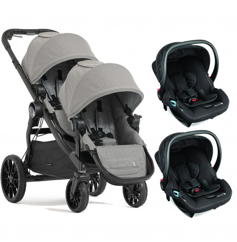 Baby Jogger City Select LUX Tandem Double Travel System (x2 Car Seat) - Slate
