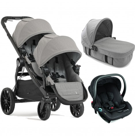Baby Jogger City Select LUX Tandem Travel System & Carrycot (x1 Car Seat, x1 Carrycot) - Slate