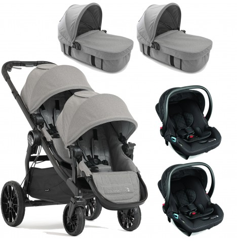 Baby Jogger City Select LUX Tandem Travel System & Carrycots (x2 Car Seat, x2 Carrycot) - Slate