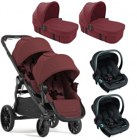 Baby Jogger City Select LUX Tandem Travel System & Carrycots (x2 Car Seat, x2 Carrycot) - Port