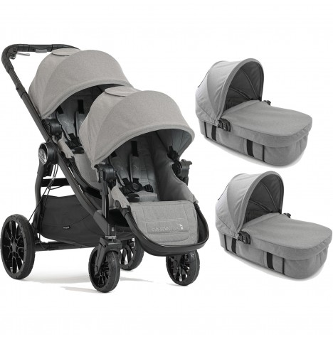 Baby Jogger City Select LUX Tandem Pushchair & x2 Carrycots - Slate