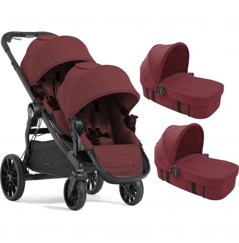 Baby Jogger City Select LUX Tandem Pushchair & x2 Carrycots - Port