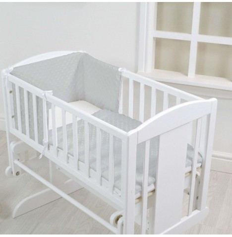 4baby Rocking Crib / Cradle Quilt & Bumper Set - Dimple Grey