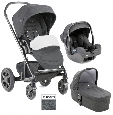 Joie Chrome DLX (i-Gemm) Travel System + Carrycot (inc Footmuff) - Pavement..