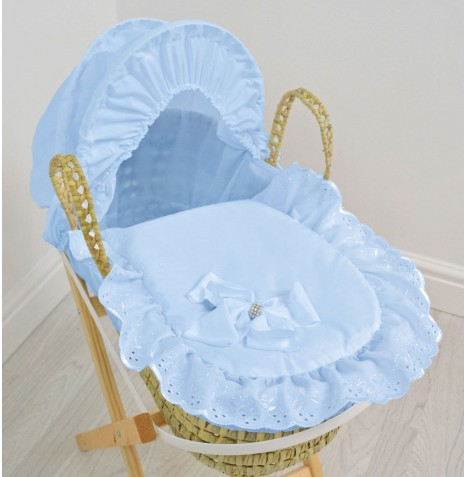 4Baby Dolls Broderie Anglaise Moses Basket - Blue Bow