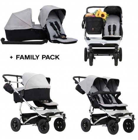 Mountain Buggy Duet V3 Single / Twin Pushchair With Family Pack - Silver