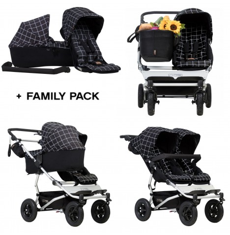 Mountain Buggy Duet V3 Single / Twin Pushchair With Family Pack - Grid