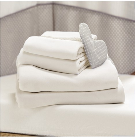 4baby Crib Pram Moses Basket Ed Jersey Sheets 2 Pack Cream