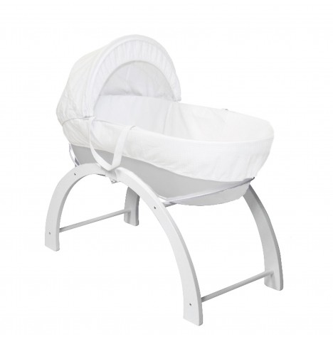 Shnuggle Classic Moses Basket & Curve Stand - Grey Waffle