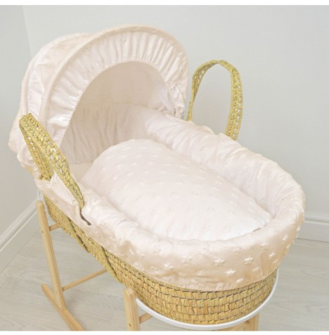 4baby Deluxe Palm Moses Basket - Dimple Stars Cream