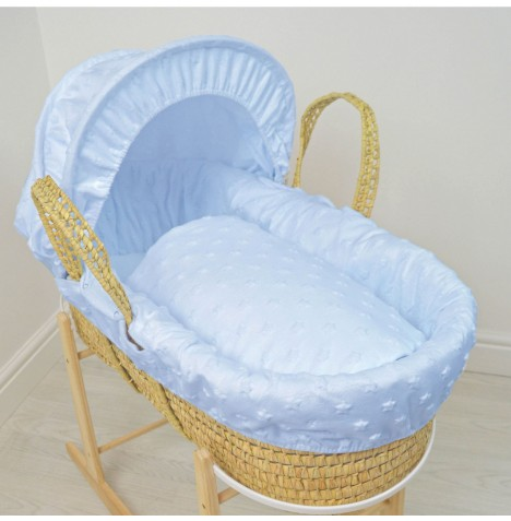 4baby Deluxe Palm Moses Basket - Dimple Stars Blue