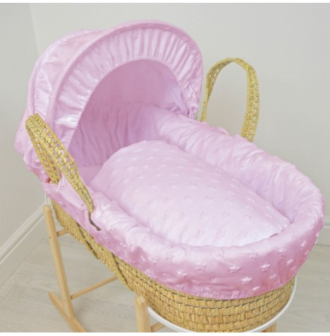 4baby Deluxe Palm Moses Basket - Dimple Stars Pink