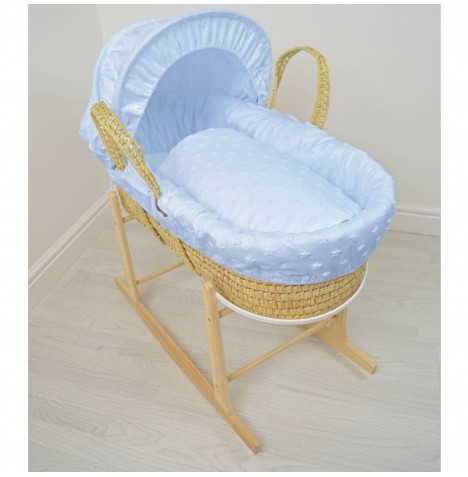 4baby Deluxe Palm Moses Basket & Rocking Stand - Soft Stars Blue