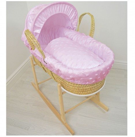 4baby Deluxe Palm Moses Basket & Rocking Stand - Soft Stars Pink