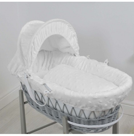 4baby Deluxe Grey Wicker Moses Basket - Dimple Stars White