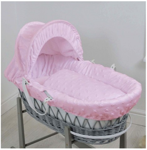 4baby Deluxe Grey Wicker Moses Basket - Dimple Stars Pink