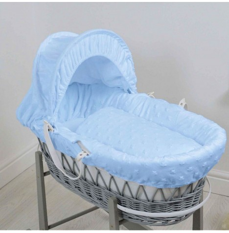 4baby Deluxe Grey Wicker Moses Basket - Dimple Stars Blue