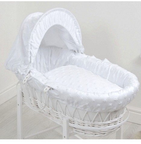 4baby Deluxe White Wicker Moses Basket - Dimple Stars White
