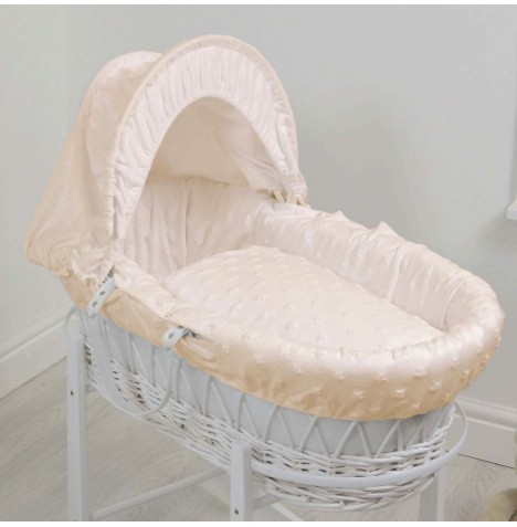 4baby Deluxe White Wicker Moses Basket - Dimple Stars Cream