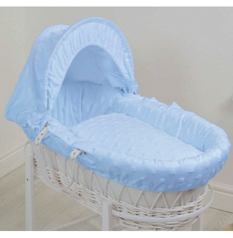 4baby Deluxe White Wicker Moses Basket - Dimple Stars Blue