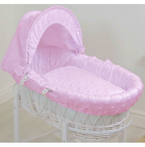 4baby Deluxe White Wicker Moses Basket - Dimple Stars Pink