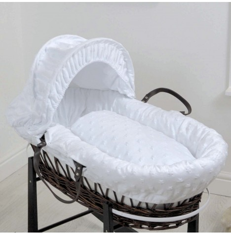 4baby Deluxe Dark Wicker Moses Basket - Dimple Stars White