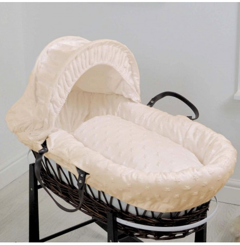 4baby Deluxe Dark Wicker Moses Basket - Dimple Stars Cream