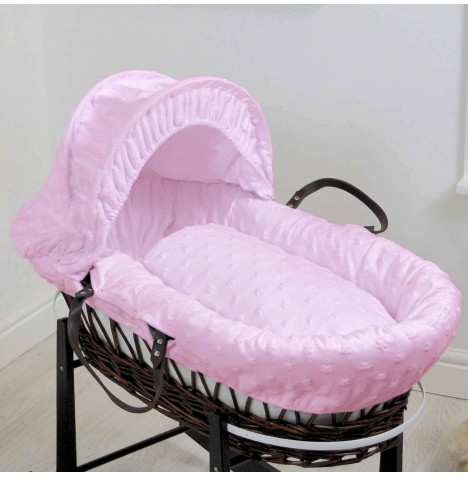 4baby Deluxe Dark Wicker Moses Basket - Dimple Stars Pink