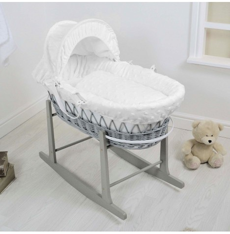 4Baby Deluxe Grey Wicker Moses Basket & Rocking Stand - Dimple Stars White
