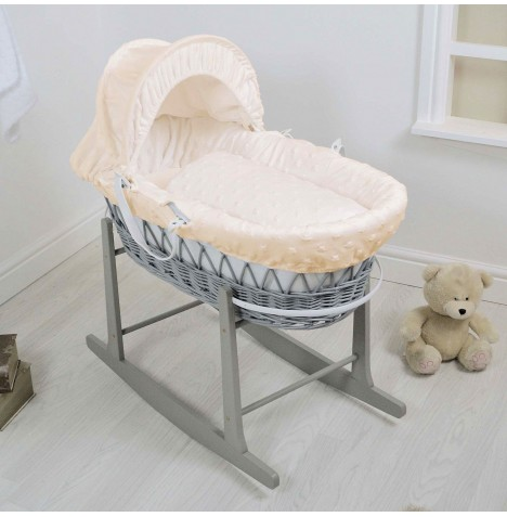 4Baby Deluxe Grey Wicker Moses Basket & Rocking Stand - Dimple Stars Cream
