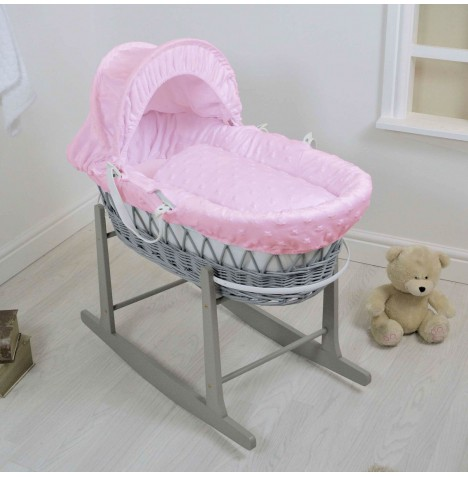 4Baby Deluxe Grey Wicker Moses Basket & Rocking Stand - Dimple Stars Pink
