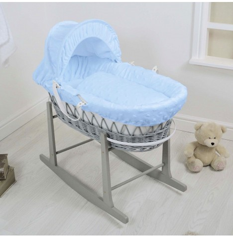 4Baby Deluxe Grey Wicker Moses Basket & Rocking Stand - Dimple Stars Blue